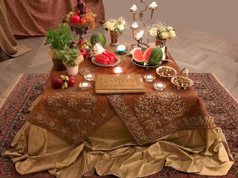 termeh, fruits, flowers, herbs, nuts, and verse