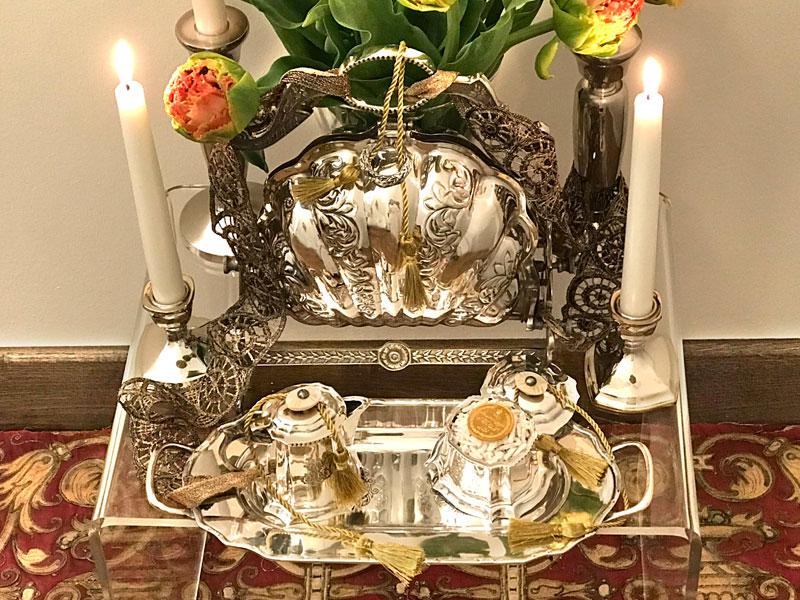 Victorian-style bread warmer, rosewater, sugared almonds