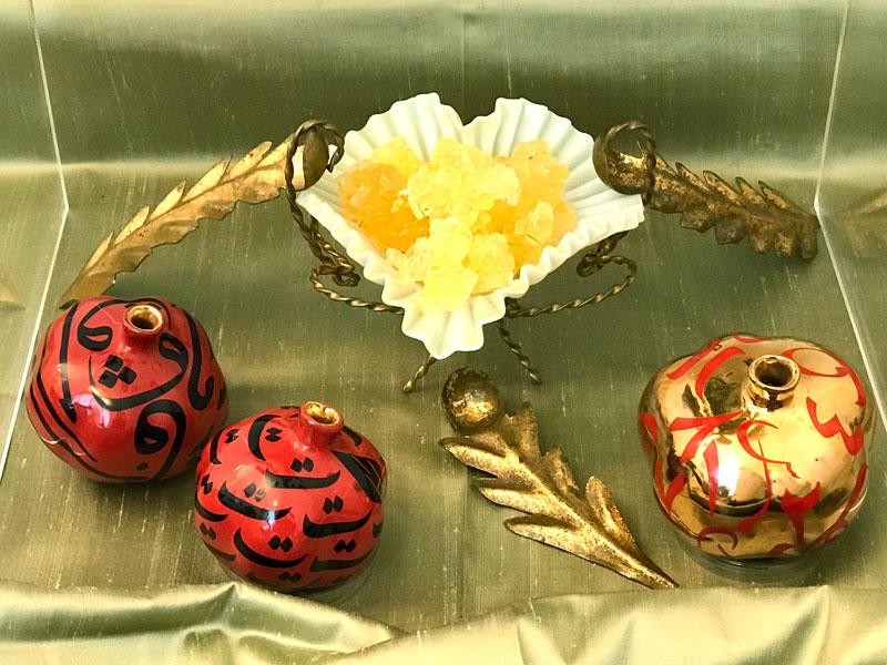 silk, ceramic pomegranates, crystal sugar