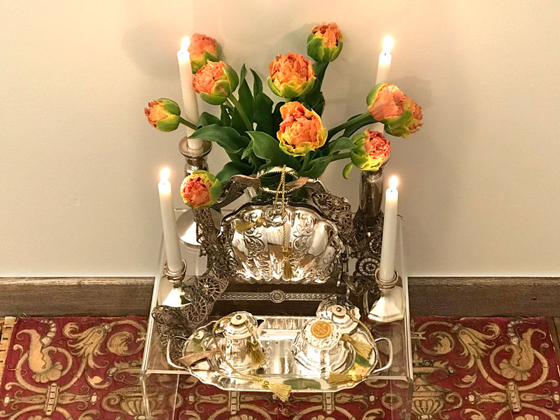 tulips and Victorian-style bread warmer