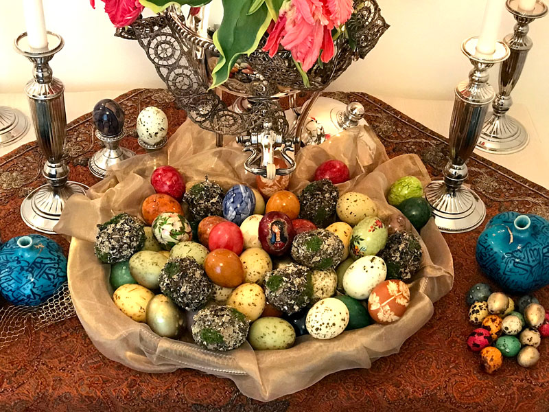 marriage sofreh with hand painted eggs