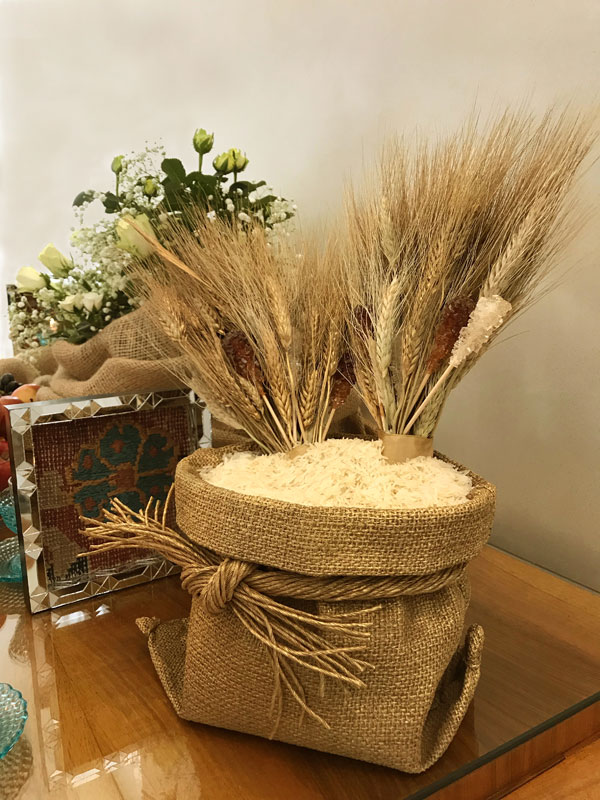 wheat and crystal sugar, inside a hessian bag