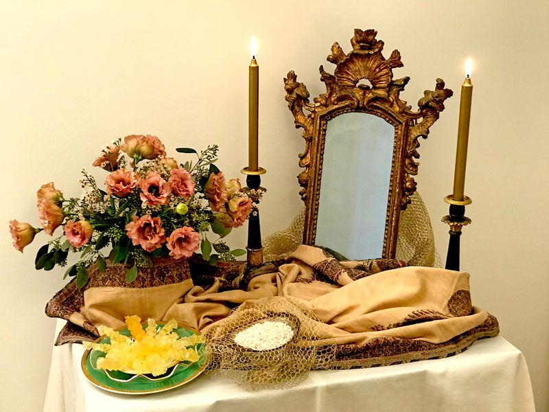 Mirror, candelabra, flowers, sugared almonds & crystal sugar