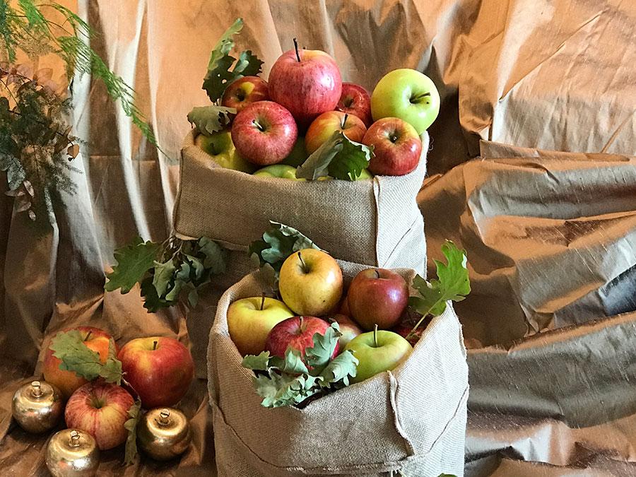 apples in hessian bags