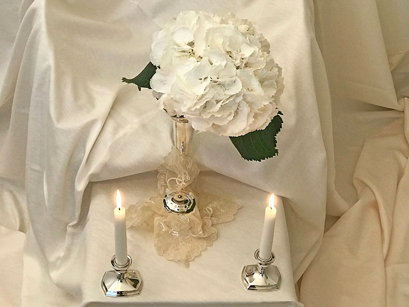 snowball hydrangea and candles