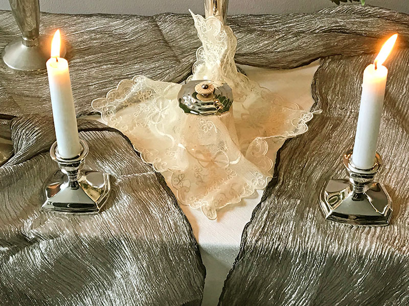 antique lace with candles