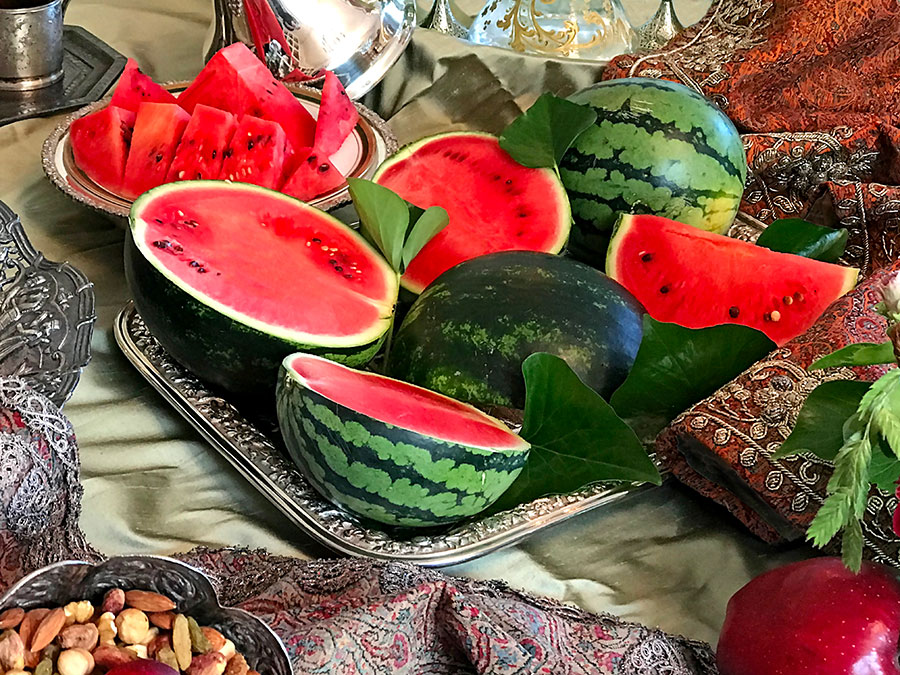 whole and cut watermelons