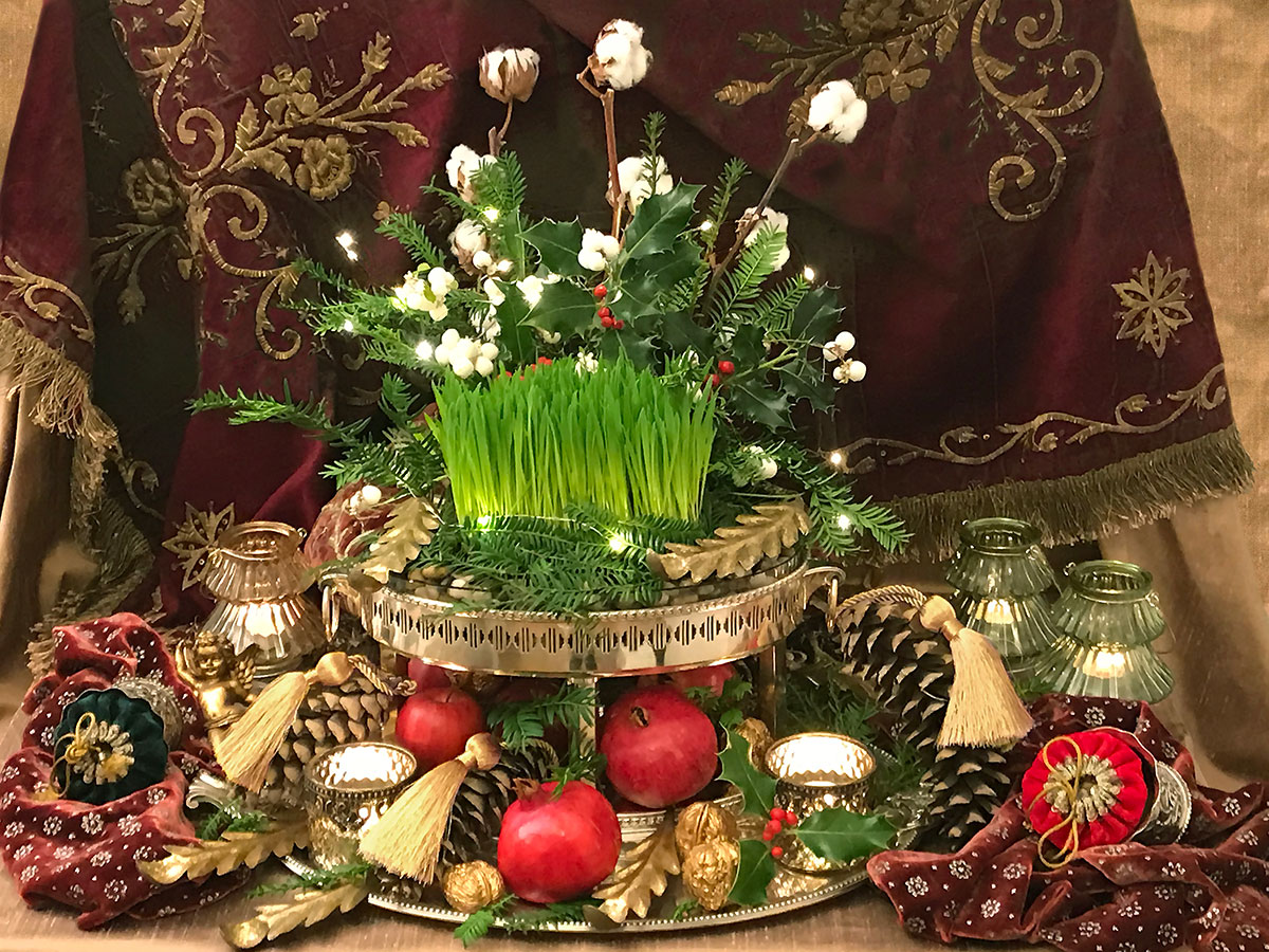 christmas ornaments and elements of sofreh