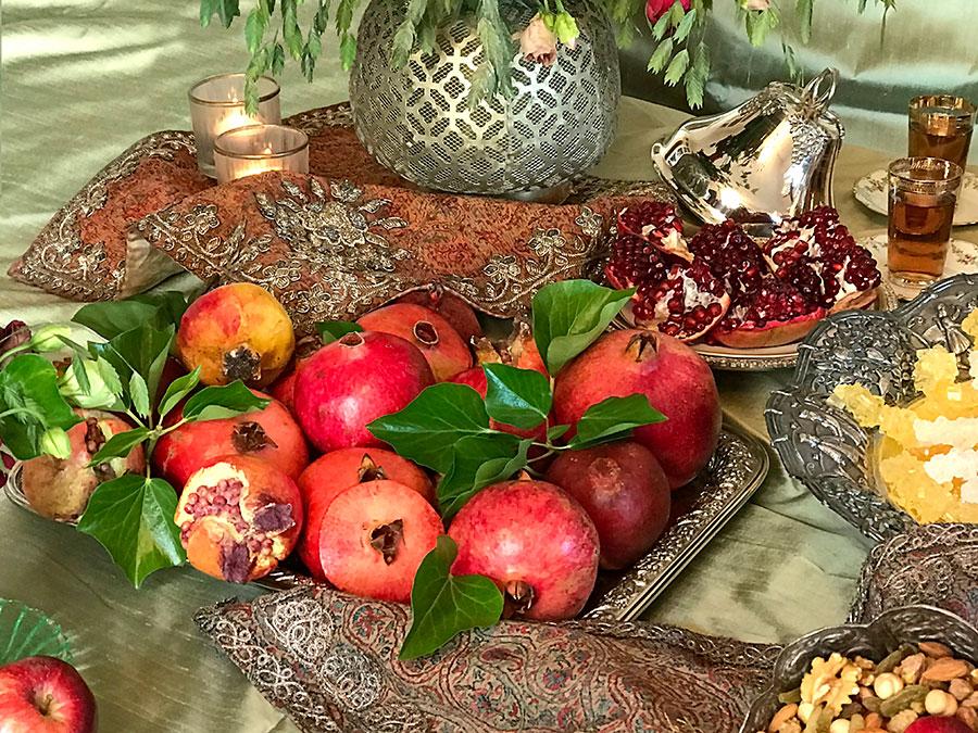 Pomegranates on silver tray