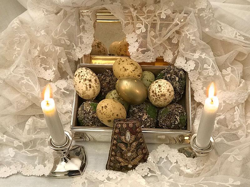 art deco box of decorated eggs