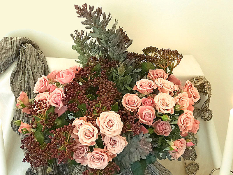 silvery foliage with wine-coloured blush