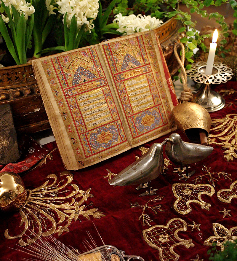 hand-written Qur'an, opened