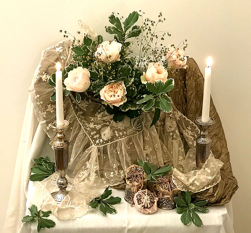 chiffon roses and foliage on gold silk textile