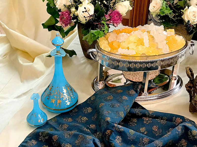 blue rosewater flasks and crystal sugar