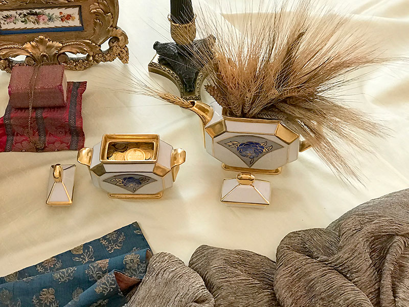 art deco tea set with sheaves of wheat and gold coins