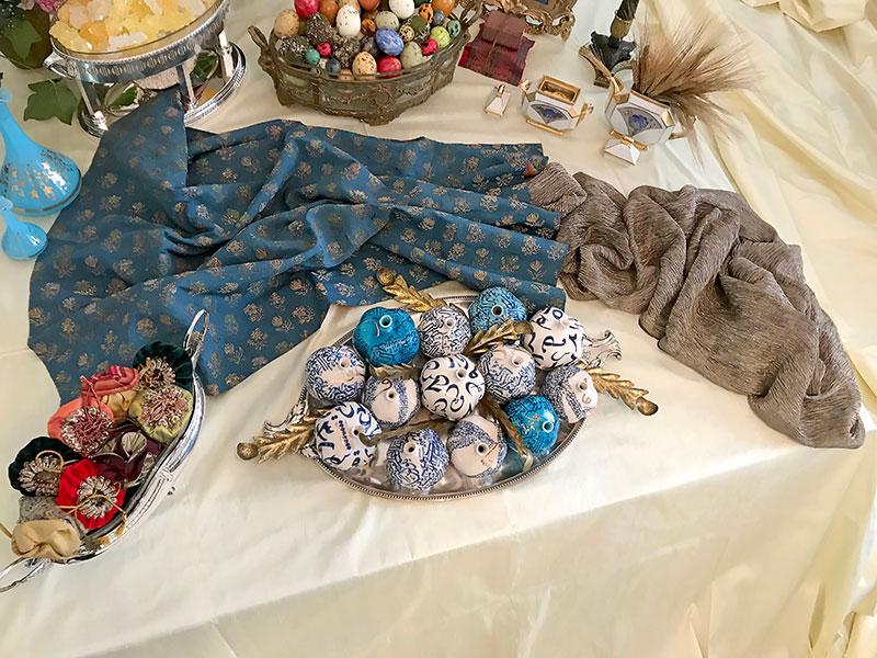 persian blue brocade, pomegranates, bonbonnieres