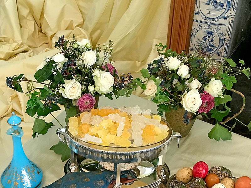 flower displays, crystal sugar, and decorated eggs