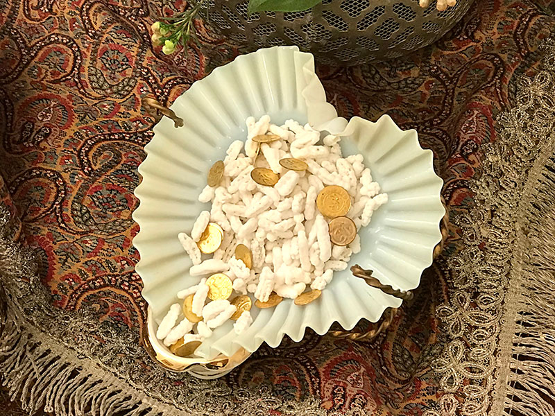 antique opaline vessel holding the Persian sugared almonds