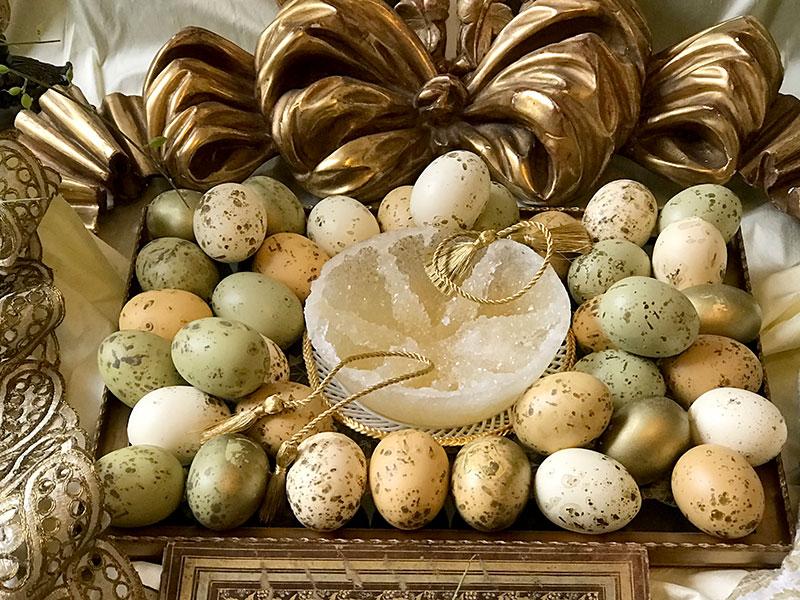 crystal sugar, decorated eggs, gold tassels